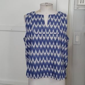 J. CREW NOTCHED SHELL ZIG ZAG IKAT TOP SZ 12 NEW